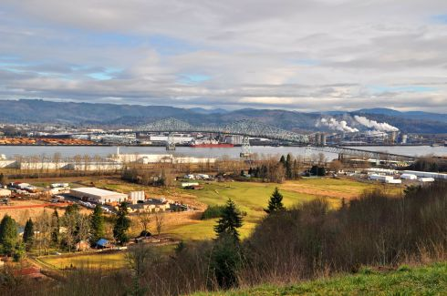 There's my little home town of Rainier in the foreground, on the Oregon side, and Longview across the river on the Washington side. In the center is the Lewis & Clark Bridge across the Columbia River, that helps me get to work (and more importantly: home) each day.
