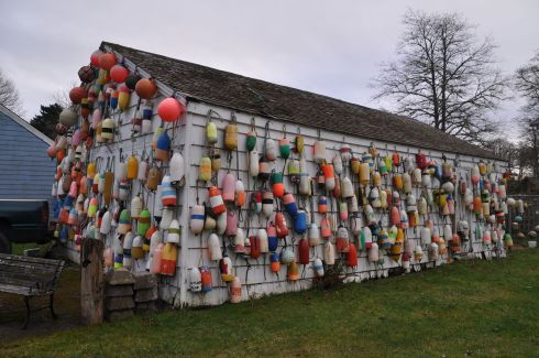 Grandma's garage covered in buoys