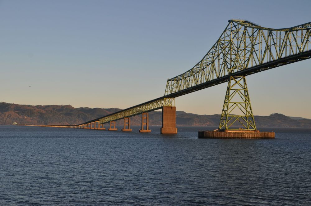 The Astoria-Megler Bridge from the balcony of my room in the morning sunshine.