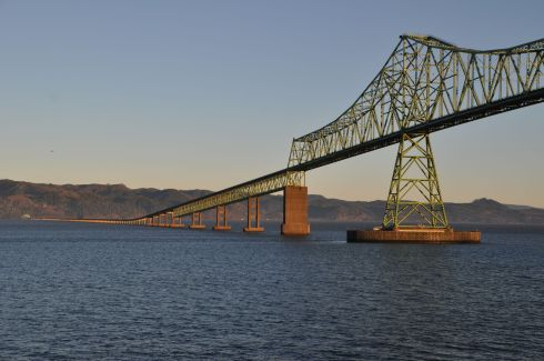 The Astoria-Megler Bridge from the balcony of my room in the morning sunshine.