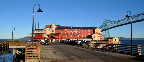 The Cannery Pier Hotel & Spa at the end of a pier into the Columbia River.