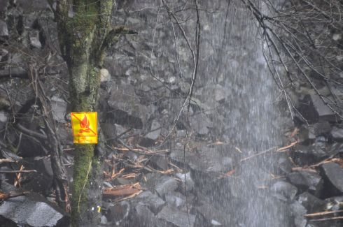 This last photo is for laughs. The sign, drenched in a waterfall and nailed to a tree with its roots in the water, warns NO CAMPFIRES! Darn it, I was just looking for my matches...