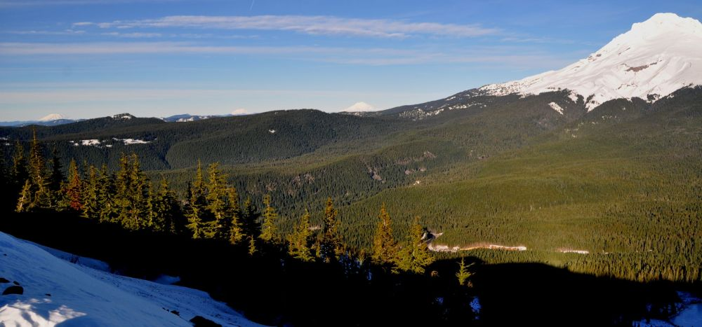 In January I hiked up Tom Dick and Harry Mountain and got this view, left to right, of Mt. St. Helens, Mt. Rainier, Mt. Adams, and Mt. Hood. {click the image for a larger version}