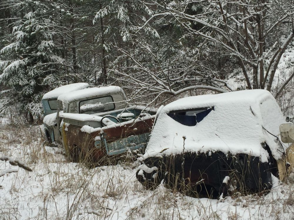 Jim loves antique cars, and so I'm going to assume these are here intentionally, waiting under the snow for some future TLC.