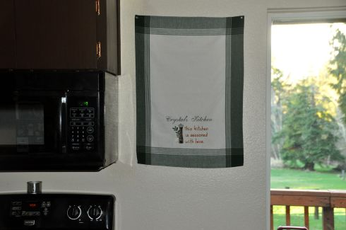My beautiful kitchen towel tells the truth: lots of love here.