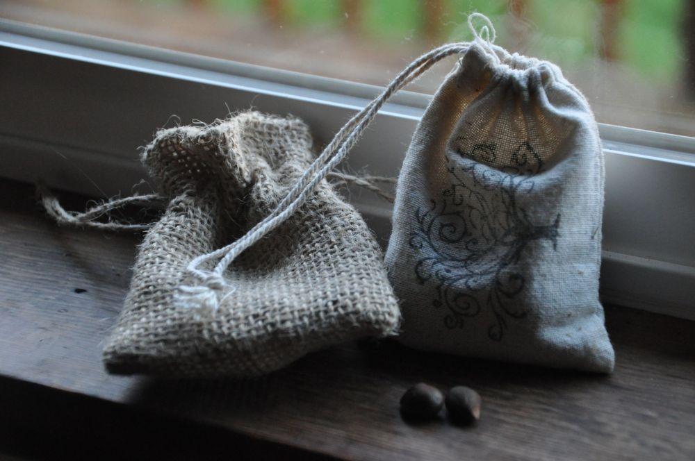 Empty garlic bag and mostly empty nut bag.