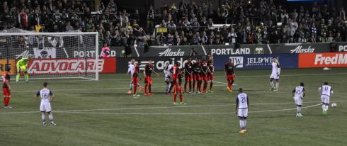 Timbers lined up for defense of a penalty kick