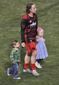 Ned Grabavoy and his little ones.