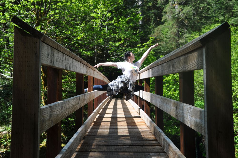 Footbridge from the campground to the trails. If you click the link to my 2014 post, you'll see the original ballet pose. We decided to recreate it.