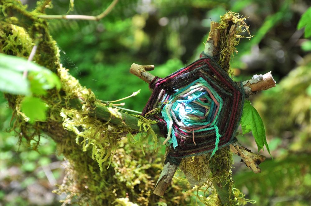 I was delighted by this God's Eye woven by a previous camper and tucked into a tree beside the tent.