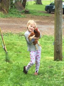 Neighbor girl: chicken wrangler