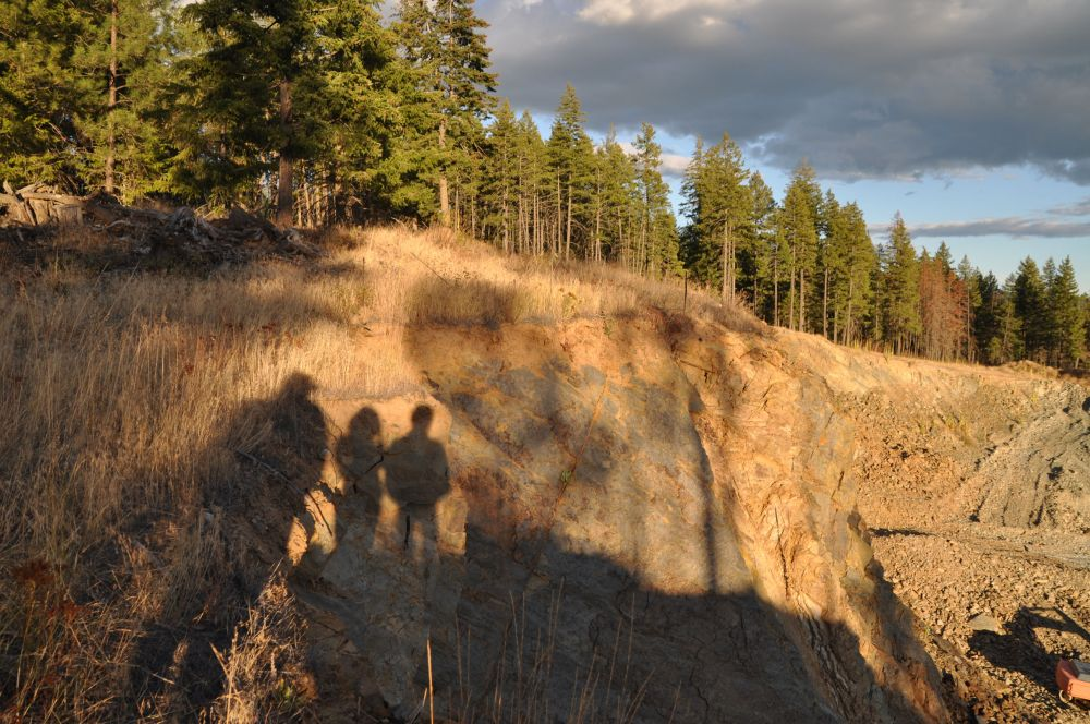 This image really appeals to me. The three of us standing in the setting sun, gazing across the rock face of the quarry.