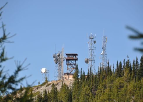 A view of the lookout from the road to reach it. The towers are communications relays.