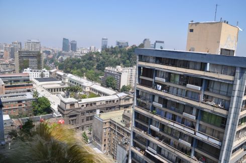 View from the Santiago apartment that is home for a couple days. Below is the Catholic University, and you can also see the hill with Hidalgo Castle.