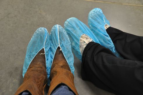 Our feet had to be covered to prevent unwanted contamination.
