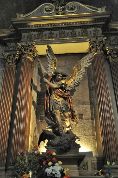 The archangel St. Michael along the east side.