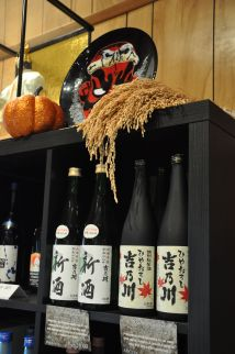 Imported saké in the tasting room.