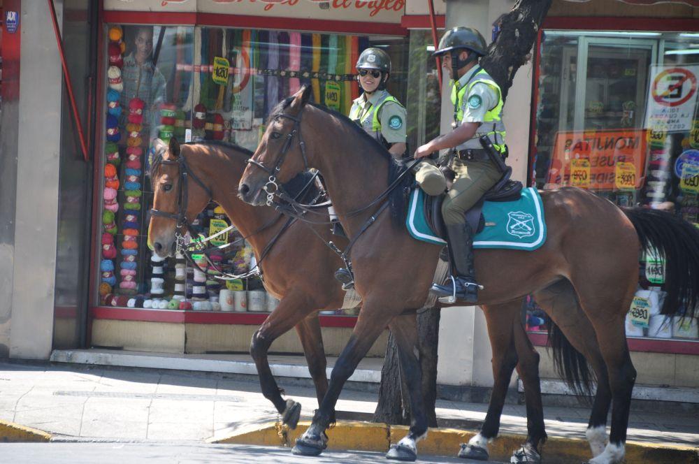 We notice police everywhere, los cabineros.
