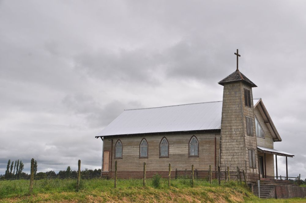 On the way to Puerto Octay, a picturesque church beside the road.