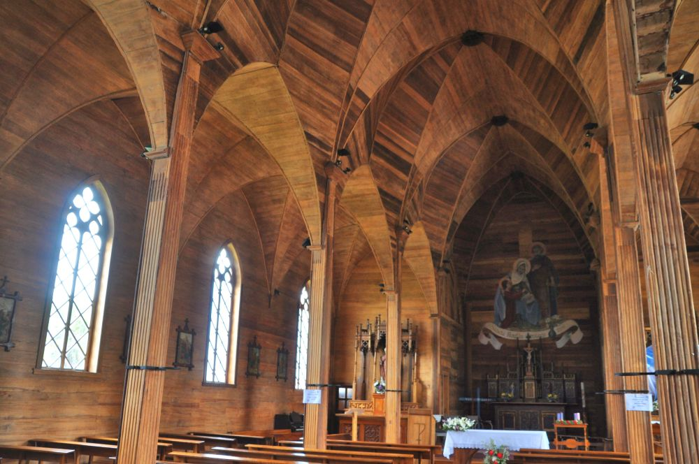 Inside the church were arches built of wood - the first time I have seen this structure in wood instead of stone.
