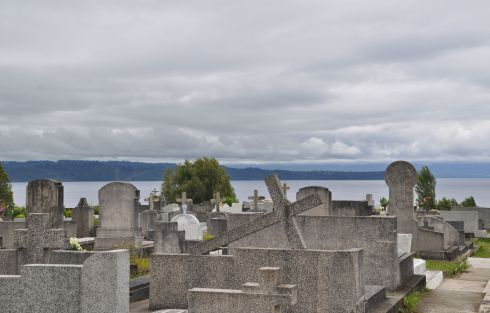 Cemetery on a hill overlooking Lake Llanquihue.