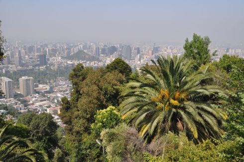 View of Santiago from the funicular.