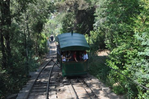 Our car is passing another as we ride the funicular down the hillside.