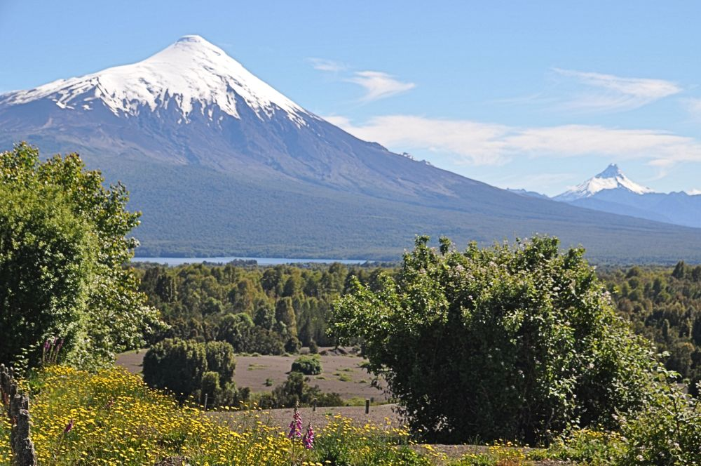 Volcano Orsorno from the foothills of volcano Calbuco.