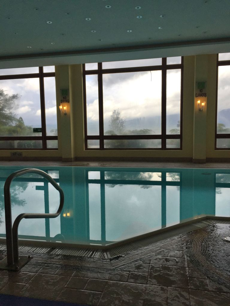 The heated pool was even more of a delight when afternoon rain turned into evening thunderstorms, and crackled and boomed while we swam and then ate cheese and crackers and enjoyed our wine.