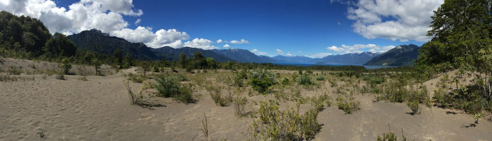 This is panoramic view from my phone shows Lake Todos los Santos with pumice gravel in the foreground from a 2015 eruption.