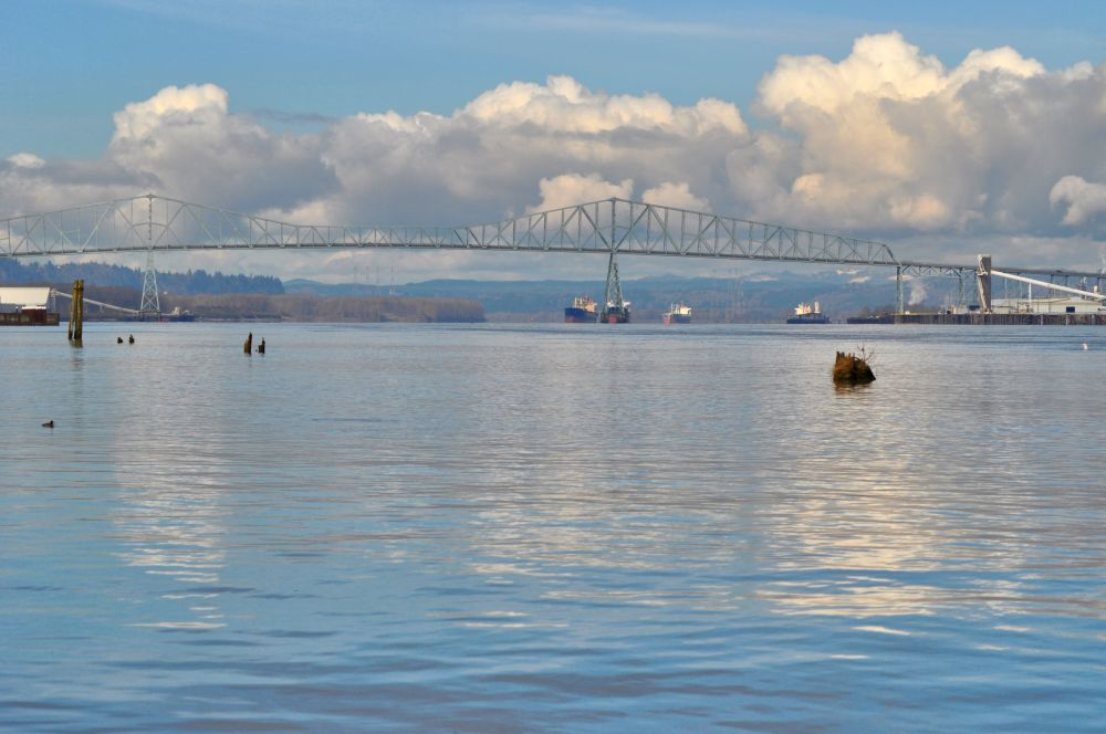 Looking downriver toward Astoria, and the Pacific Ocean. That is the Lewis & Clark Bridge, joining Longview, Washington to Rainier, Oregon