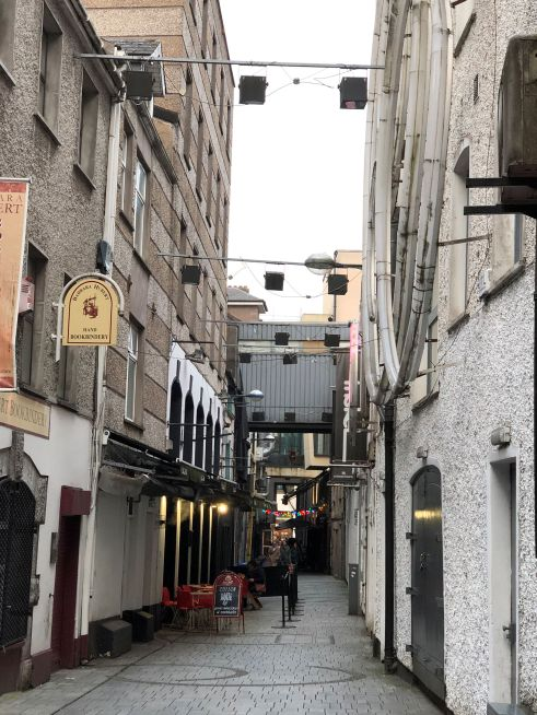 Narrow Cork city streets.